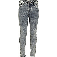 Girls blue acid wash jeans
