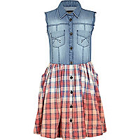 Girls red denim and check shirt dress