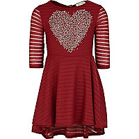Girls red embellished heart dress