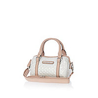 Girls white quilted barrel bag
