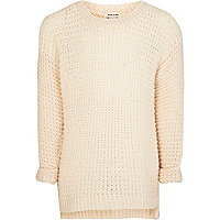 Girls cream grid stitch jumper
