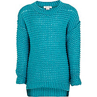 Girls green grid stitch jumper