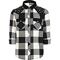 Girls black studded check shirt