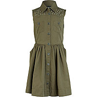 Girls khaki military shirt dress