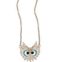 Girls gold tone owl necklace