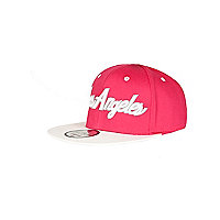 Girls bright pink Los Angeles snapback hat