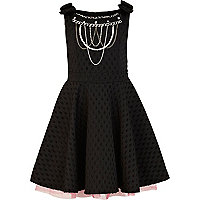 Girl black spot prom dress