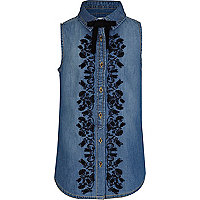 Girls blue denim sleeveless shirt