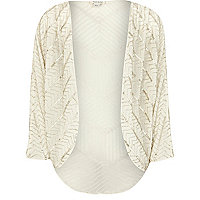 Girls cream embellished shrug