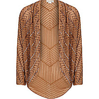 Girls brown embellished shrug
