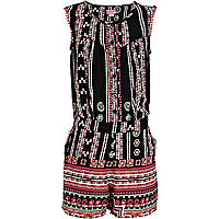 Girls black aztec playsuit