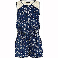 Girls blue heart print playsuit