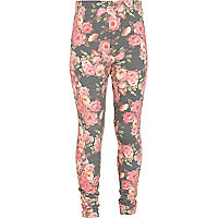 Girls pink floral denim look leggings