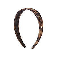 Girls brown leopard print studded alice band