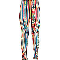 Girls blue aztec stripe leggings