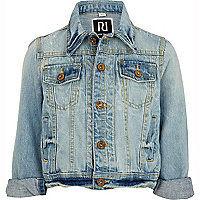 Girls blue light wash denim jacket