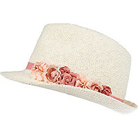 Girls white flower trim trilby hat