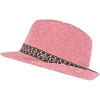 Girls pink aztec trim hat