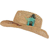 Girls brown feather trim straw hat