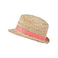 Girls biege sequin trilby hat