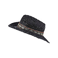 Girls black aztec trim straw hat