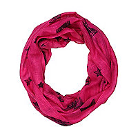 Girls bright pink scribble print scarf