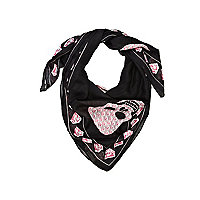 Girls black skull print scarf