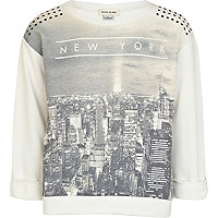 Girls cream New York studded sweat top