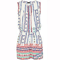 Girls white aztec playsuit