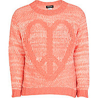 Girls orange peace sign jumper