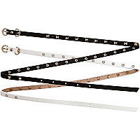 Girls black and white 2 pack studded belts