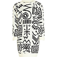 Girls cream tribal print knitted dress
