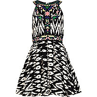 Girls black aztec prom dress