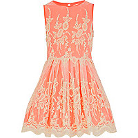 Girls neon orange lace prom dress