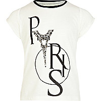 Girls cream Paris print diamante t-shirt
