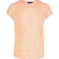 Girls orange stud sleeve t-shirt