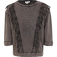 Girls grey fringe studded sweat top