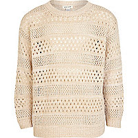 Girls beige pointelle knit jumper