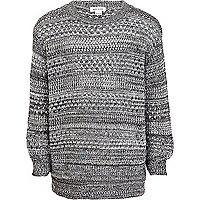 Girls grey pointelle knit jumper