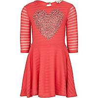 Girls coral embellished heart dress