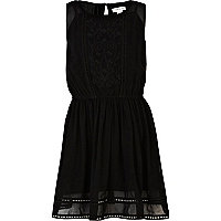 Girls black embroidered drop waist dress
