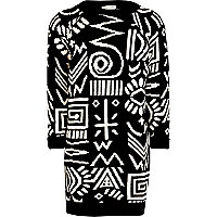 Girls black tribal print knitted dress