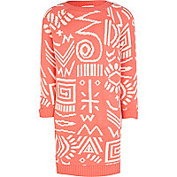 Girls coral tribal print knitted dress