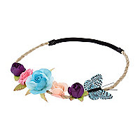 Girls blue floral butterfly garland