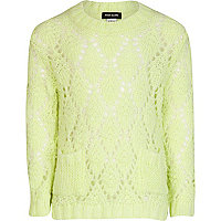 Girls green fluro pointelle jumper