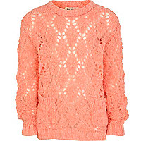 Girls orange fluro pointelle jumper