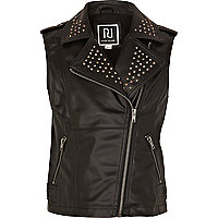 Girls black studded leather look biker gilet