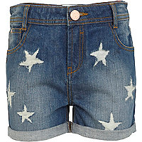 Girls blue mid wash denim star print shorts