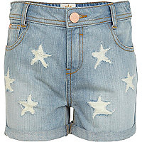 Girls blue light wash denim star print shorts