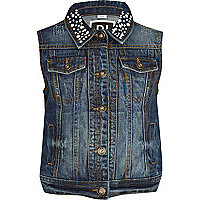 Girls mid wash denim embellished collar gilet